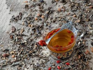 Goji berry infusion tea in a teacup