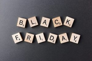 """Wooden cubes spelling """"Black Friday"""""""