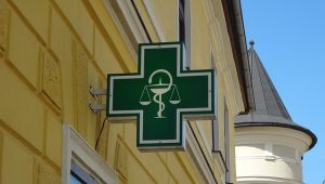 Picture of pharmacy sign in green
