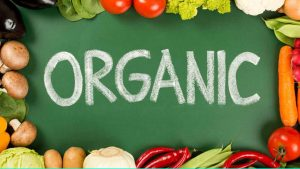 Organic written in chalk on a chalk board with fruits and vegetables around.