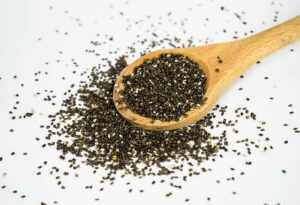wooden spoon with chia seeds on it